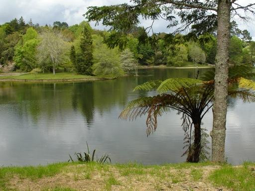 im Park befindet sich ein aufgestauter See