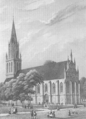 Stahlstich der Marienkirche um 1850