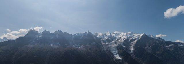 Blick auf das Mont Blanc Massiv von der Mittelstation Le Brévent