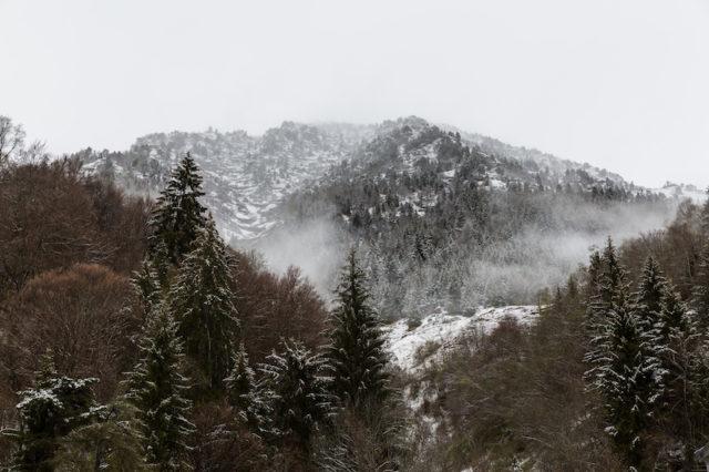 Blick auf die verschneiten Berge