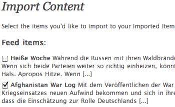 Import - Feedauswahl