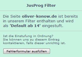 Meine Seite im JusProg Filter