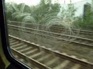 zerkratzte Scheibe in der S-Bahn
