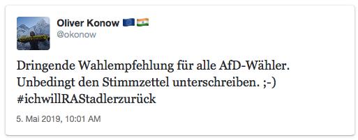 Tweet: Dringende Wahlempfehlung für alle AfD-Wähler. Unbedingt den Stimmzettel unterschreiben. ;-) #ichwillRAStadlerzurück