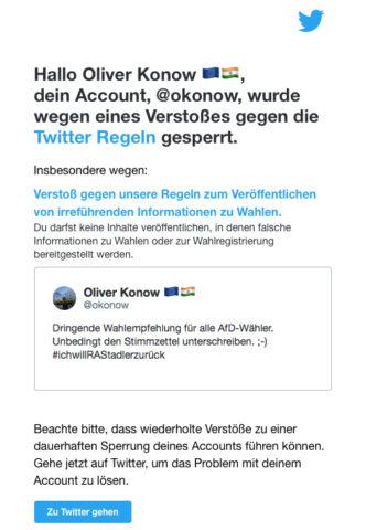 Zugang zu Twitter gesperrt