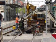 Herstellen der Verbindung zur unterirdischen Strecke (an der Heinrichstraße)
