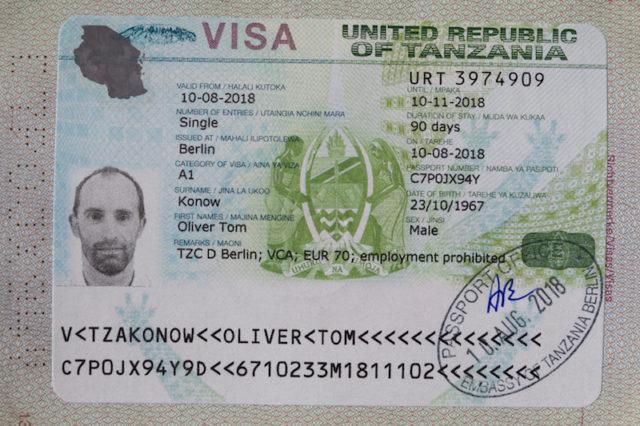 Visum für Tansania